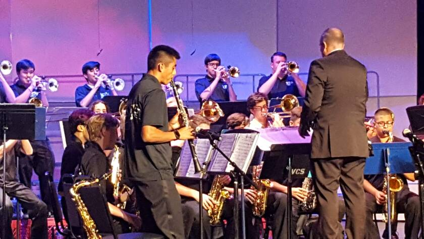 Alejandro Cuevas solos during the Valley Center High School Jazz Band's performance at the Veterans Day Tribute Concert last month. The students will perform at 6 p.m. Monday at the free Community Christmas Concert.