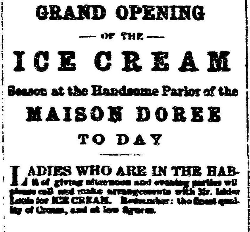 July 12, 1883 ice cream ad for Maison Doree