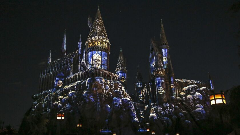 """HOLLYWOOD, CA, THURSDAY, APRIL 11, 2019 - """"Dark Arts at Hogwarts Castle,"""" a light show that features"""