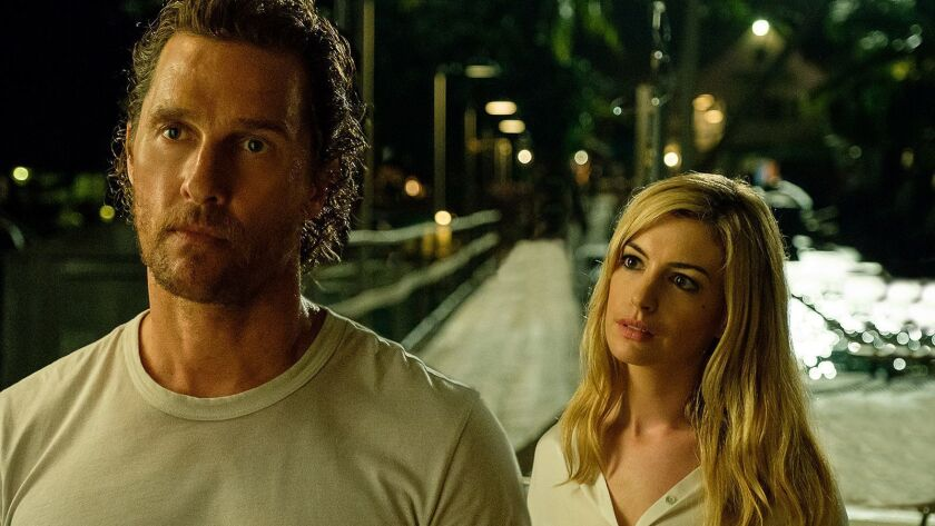 """Matthew McConaughey and Anne Hathaway costar in the new thriller """"Serenity."""""""