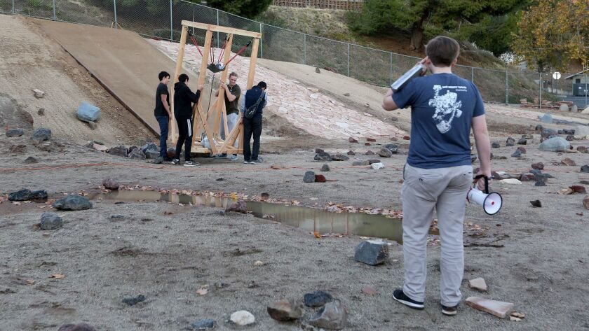 La Canada High School team Major Tom sets up their launching unit for their rocket at the final laun