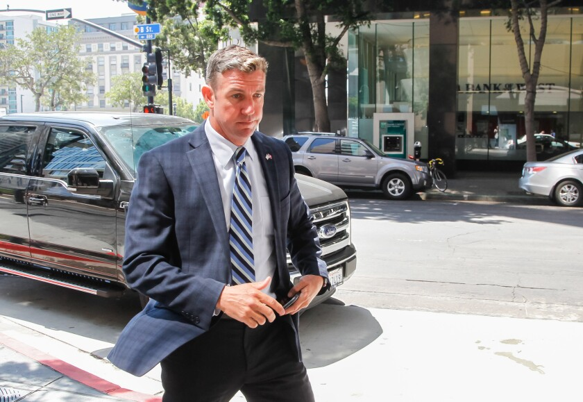 Rep. Duncan Hunter leaves federal court last year.