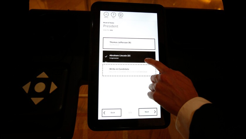 Los Angeles County unveiled a prototype of its new touch-screen voting machines.