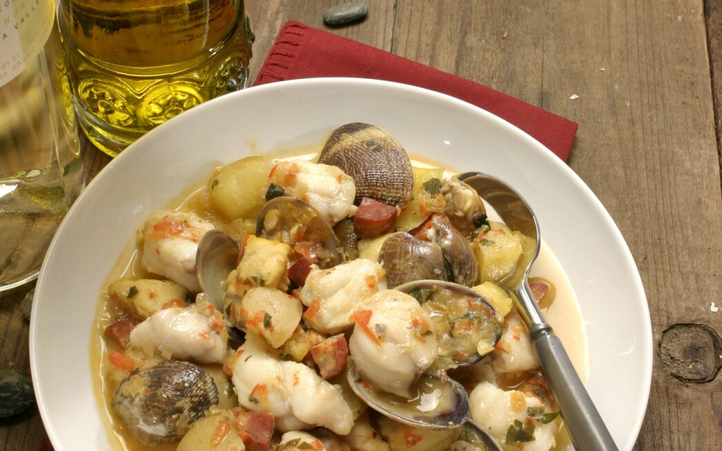 Monkfish and clams with chorizo