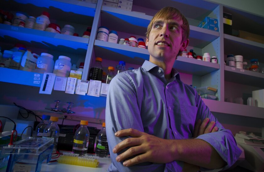 HIV and Ebola researcher Andrew Ward at The Scripps Research Institute. Ward uses electron microscopy to determine the structure of antibodies to the viruses, and how they bind to them.