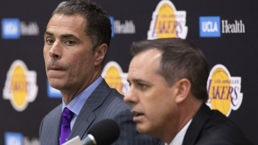 EL SEGUNDO, CA-MAY 20, 2019: Los Angeles Lakers General Manager Rob Pelinka, left, and new head coa