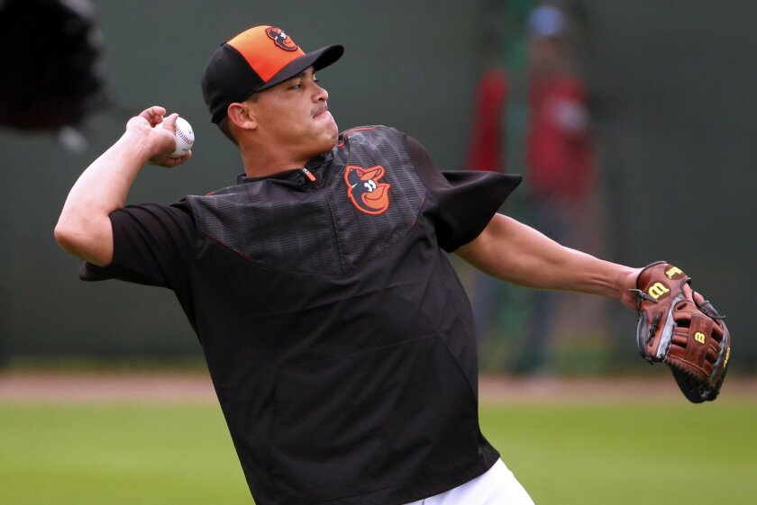 Newly acquired Baltimore Orioles' Everth Cabrera throws long toss during a baseball spring training workout in Sarasota, Fla., Wednesday, Feb. 25, 2015.