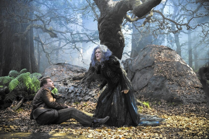 "James Corden and Meryl Streep in ""Into the Woods."""
