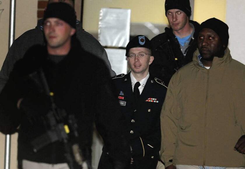 Pfc. Bradley Manning, who has been in U.S. military custody since May 2010, is escorted from a pretrial hearing in the WikiLeaks case.