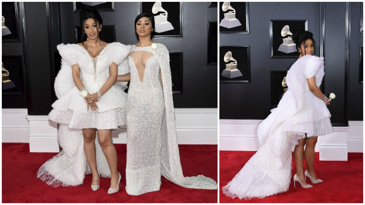 Cardi B, left, and Hennessy Carolina arrive at the 60th Grammy Awards at Madison Square Garden in New York.