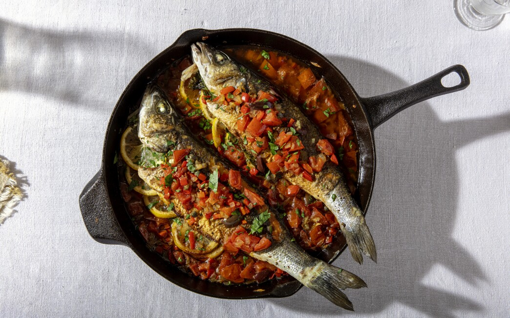 Roasted Branzino With Tomatoes and Olives