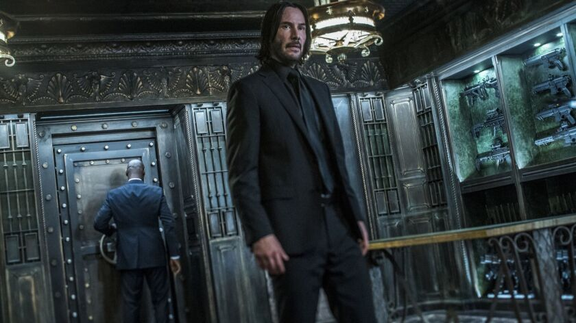 "This image released by Lionsgate shows Keanu Reeves in a scene from ""John Wick: Chapter 3 - Parabell"