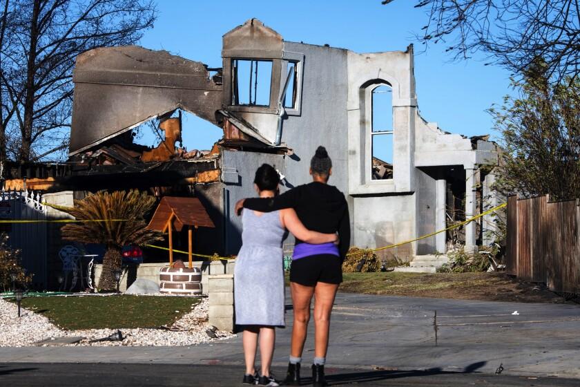 Burned home on Stone Ridge Court