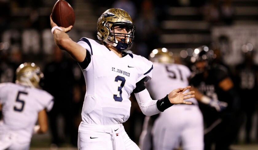 St. John Bosco quarterback Josh Rosen passed for 3,186 yards and 29 touchdowns with four interceptions this season.