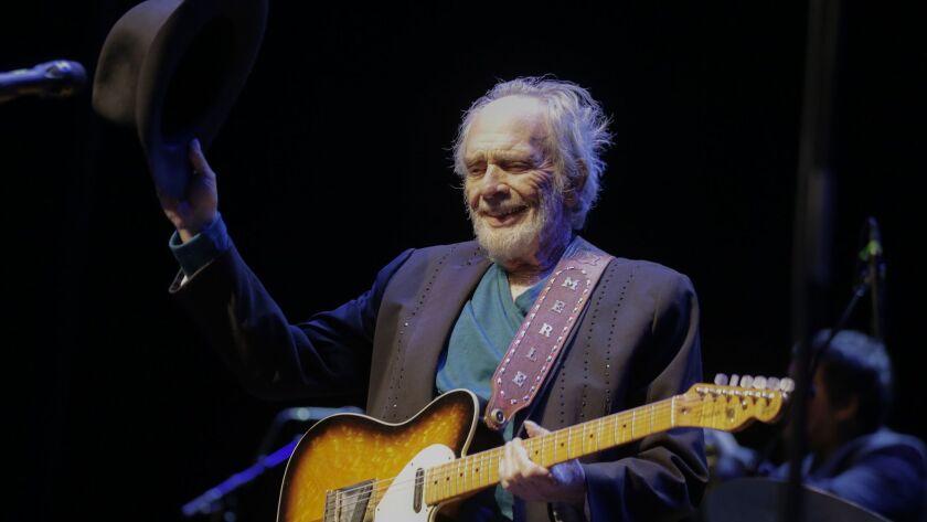 "Merle Haggard, performing in Beverly Hills in 2016, helped create the twangy ""Bakersfield Sound."""