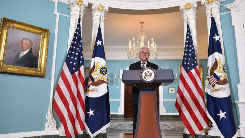 US Secretary of State Rex Tillerson holds a press conference on Iran in the Treaty Room of the State