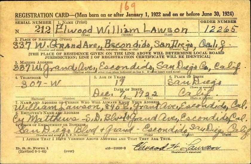 Elwood Lawson's draft registration card from 1942.