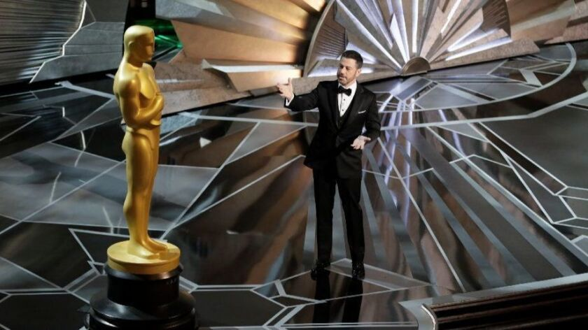 Host Jimmy Kimmel speaks onstage during the telecast of the 90th Academy Awards on March 4, 2018.