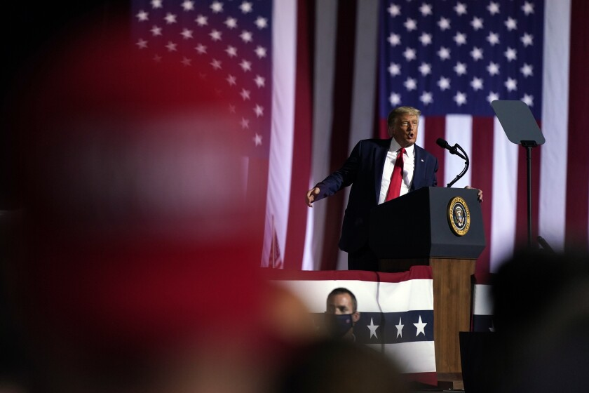 President Trump speaks during a campaign rally Oct. 21 in Gastonia, N.C.