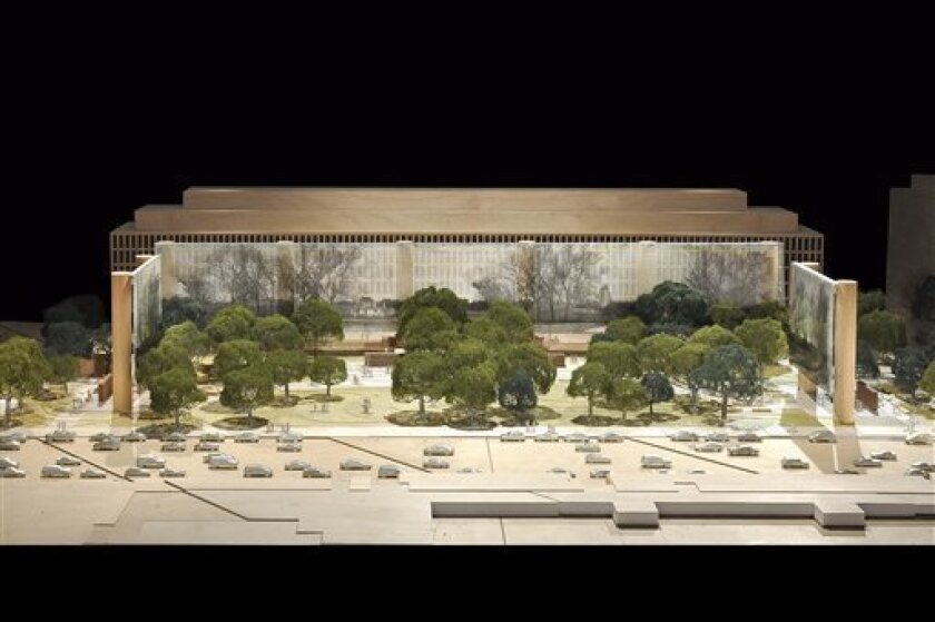 This artist rendering provided by the Eisenhower Commission on Oct. 6, 2011, shows a updated model for the national memorial in Washington for President Dwight D. Eisenhower. Architect Frank Gehry presented the update on his design Thursday to the National Capital Planning Commission.  (AP Photo/Ei