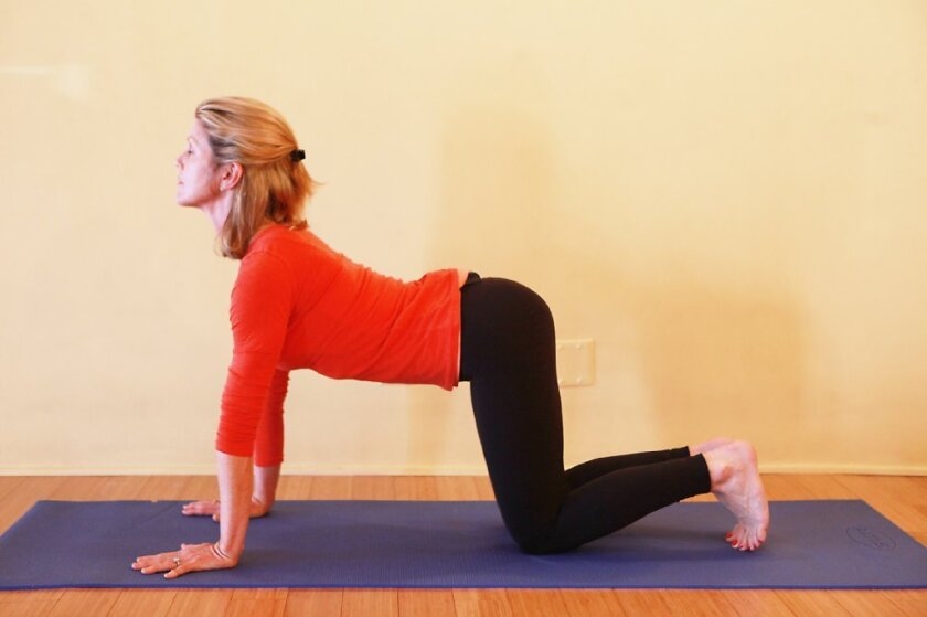 Yoga teacher Leah Kalish in, of course, yoga pants.