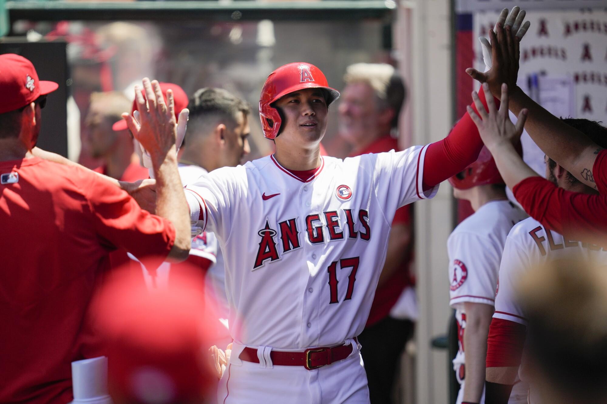 Angels designated hitter Shohei Ohtani celebrates in the dugout.