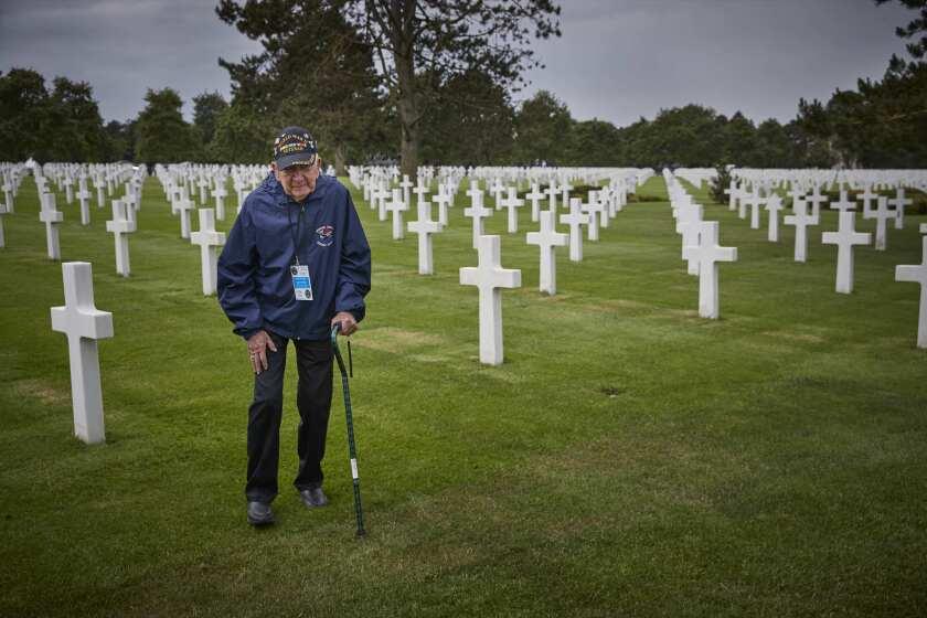 D-DAY VETERANS, FRANCE - JUNE 4: American World War II Veteran Gene Neeley, walks through the Americ