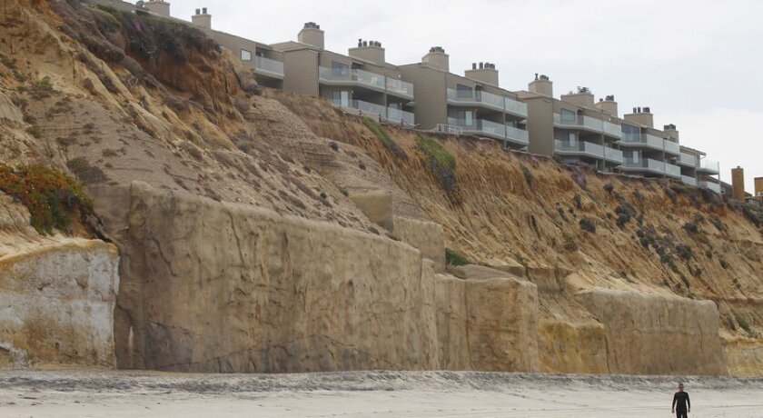 Seawalls protecting coastal bluffs from erosion on the south end of Fletcher Cove in Solana Beach.