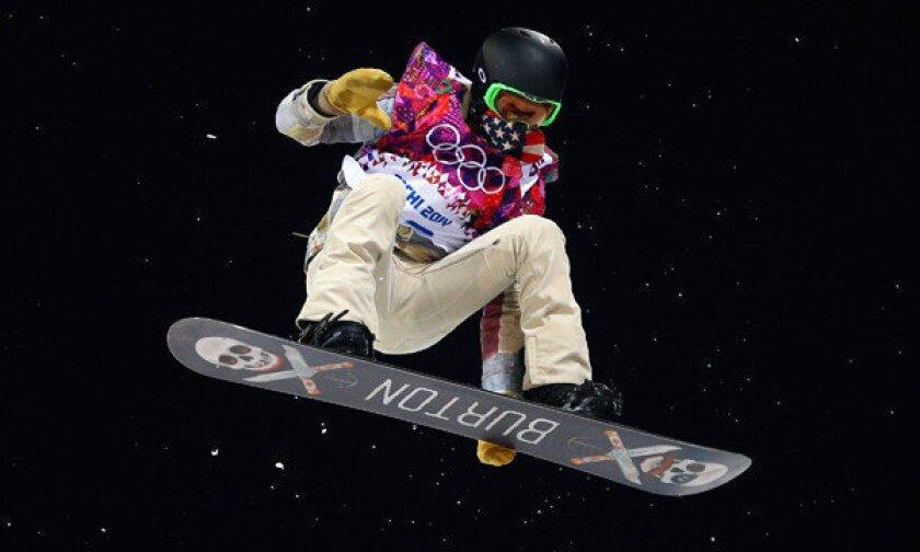 Shaun White training at Sochi's Rosa Khutor Extreme Park.