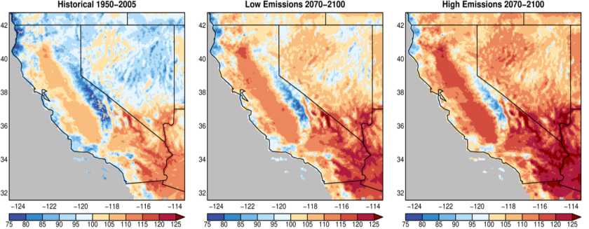 This SIO figure shows projected changes in California's average hottest day of the year by the end of this century.