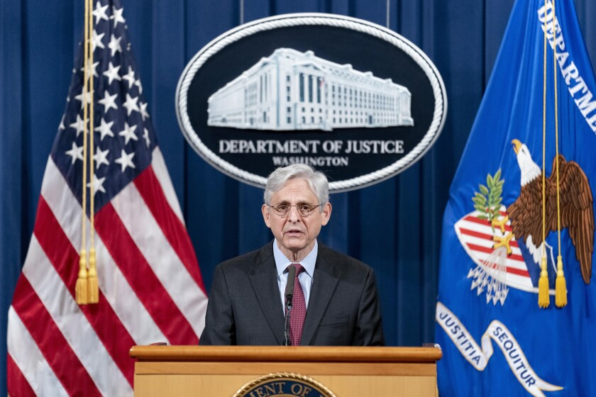 Attorney General Merrick Garland speaks about a jury's verdict in the case against former Minneapolis Police Officer Derek Chauvin in the death of George Floyd, at the Department of Justice, Wednesday, April 21, 2021, in Washington. (AP Photo/Andrew Harnik, Pool)