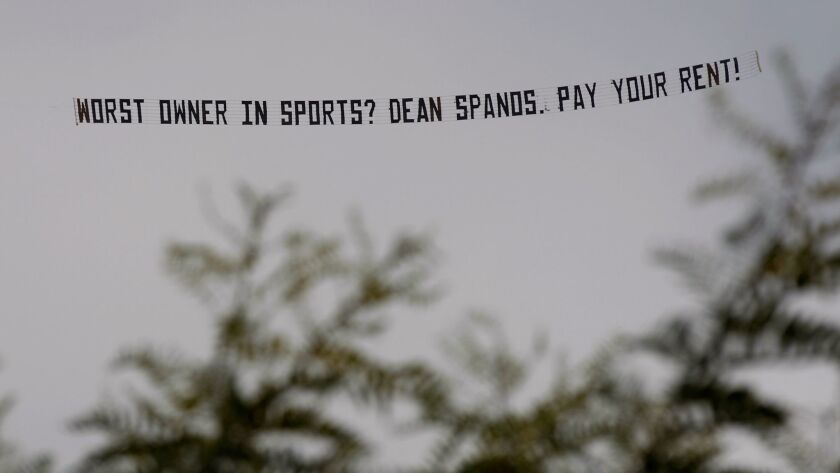 A banner plane towed a message before a Los Angeles Chargers* game against the Miami Dolphins on Sept. 17, 2017.