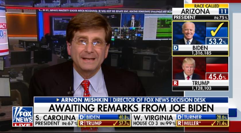 Arnon Mishkin, head of the Fox News decision desk, went on camera to explain his early call of Arizona for Joe Biden.