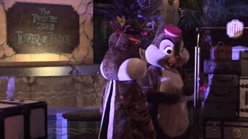 Characters such as Chip and Dale posed with guests at the Tower of Terror closing party.