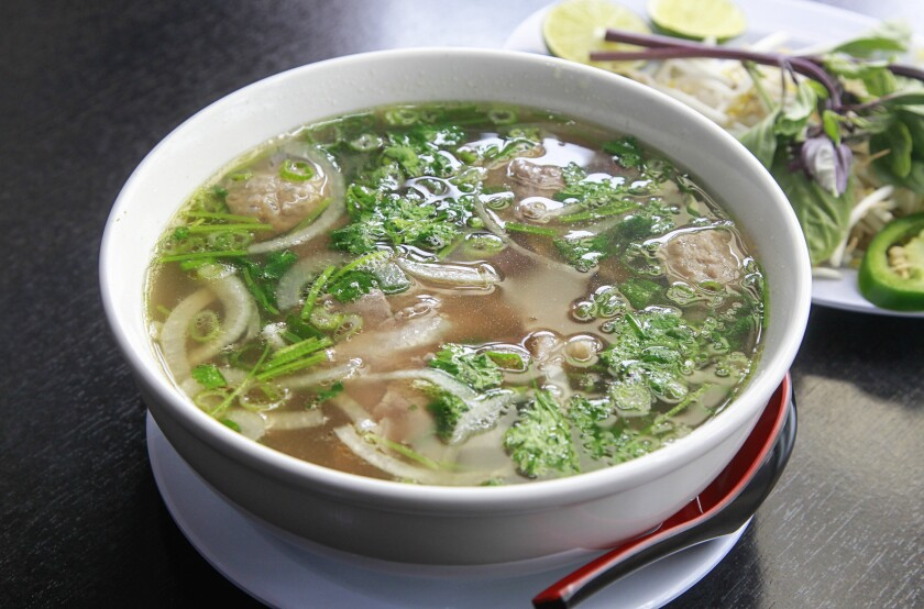 Pho Bo means beef noodle soup in Vietnames and at Mercado del Barrio's Pho Bo, you get a pure expression of that dish.