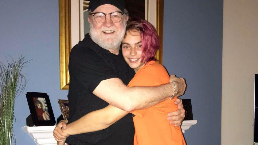 TV star Jim Beaver hugs his great-niece Kira Stanley