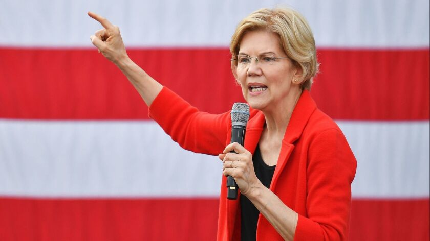 Democratic presidential candidate Elizabeth Warren gestures as she speaks during a campaign stop at George Mason University in Fairfax, Virginia on May 16, 2019.