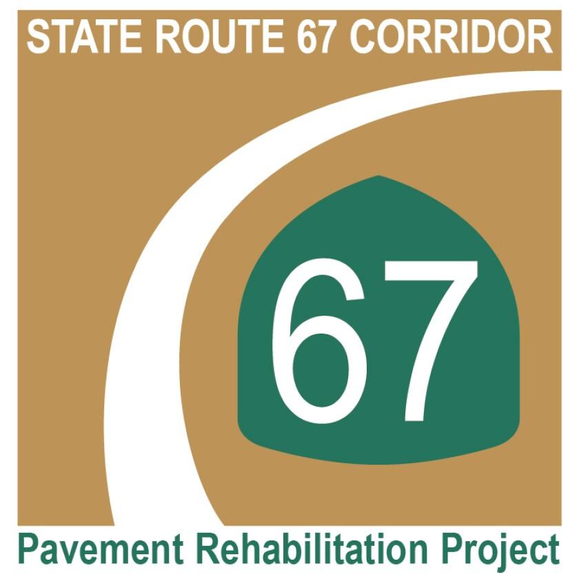Segments of SR-67 from north of Carnation Road to SR-78/10th Street will be resurfaced beginning Sunday night.