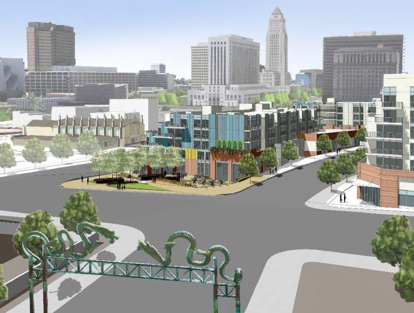 A depiction of the shops and residences that will make up the La Plaza cultural village on the edge of Olvera Street in downtown Los Angeles.