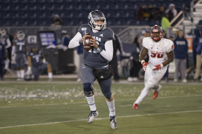 Nevada quarterback Carson Strong ranks No. 2 in the NCAA this season with 379.3 passing yards a game for the Wolf Pack.