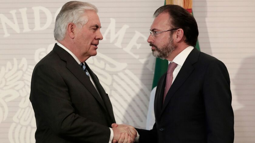 U.S. Secretary of State Rex Tillerson, left, shakes hands with Mexican Foreign Secretary Luis Videgaray in Mexico City on Feb. 23.