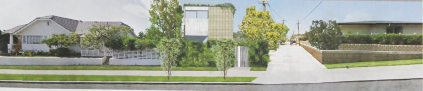 Rendering of a proposed two-story home at 820 Rushville St. (center) and how it would appear with surrounding structures.