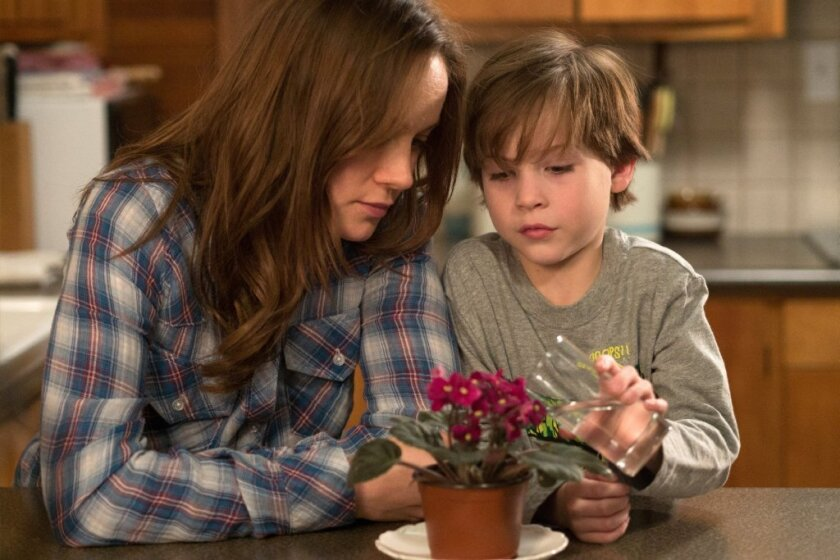 """Brie Larson and Jacob Tremblay star in the film """"Room,"""" adapted from Emma Donoghue's novel."""