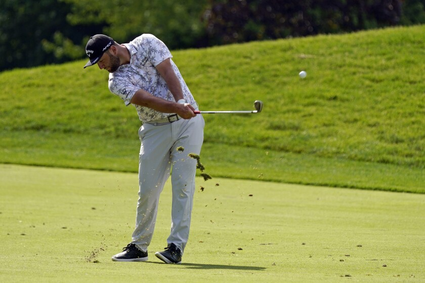 Jon Rahm hits to the 13th green during the third round of the Memorial golf tournament, Saturday, June 5, 2021, in Dublin, Ohio. (AP Photo/Darron Cummings)