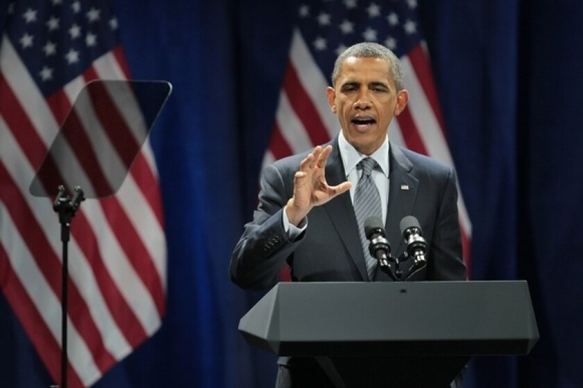 President Obama speaks at a rally to help raise money for his reelection campaign Jan. 11 in Chicago.