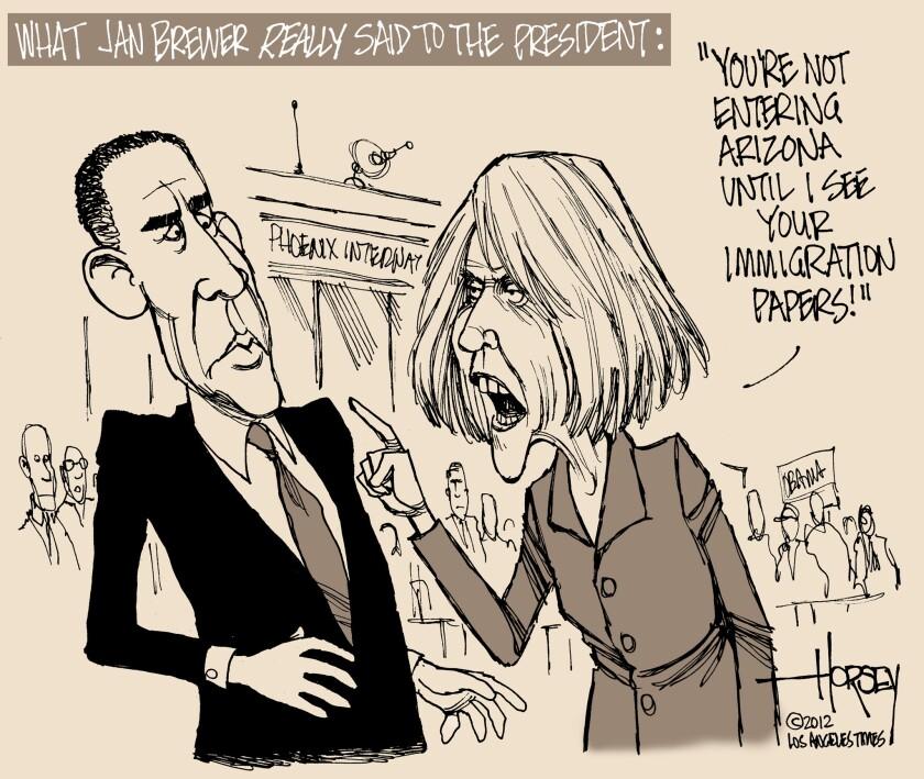 Arizona Gov. Jan Brewer spars with President Obama