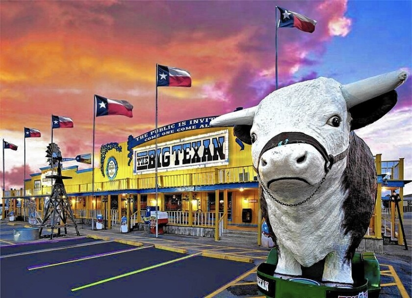 The 72-ounce steak dinner at Big Texan Steak Ranch in Amarillo, Texas, is free -- if you can finish it in one hour or less. If you need some sleep after that endeavor, he restaurant has an attached motel.