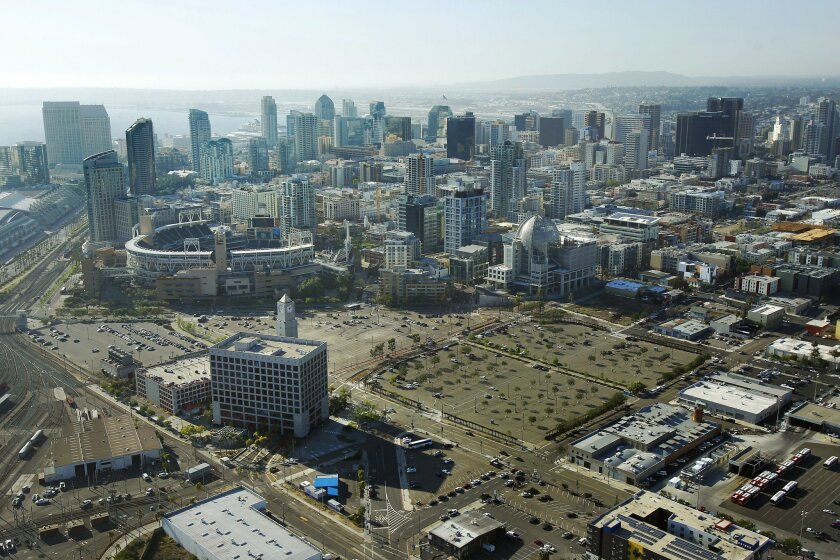 The area to the right of Petco Park is a proposed home for a new Chargers stadium.