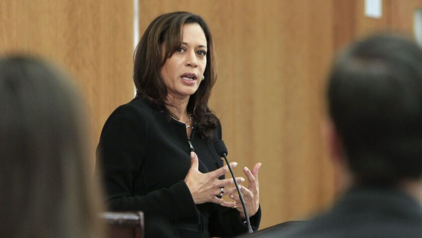 Kamala Harris, then the San Francisco district attorney, participates in a debate during her campaign for California attorney general in 2010.