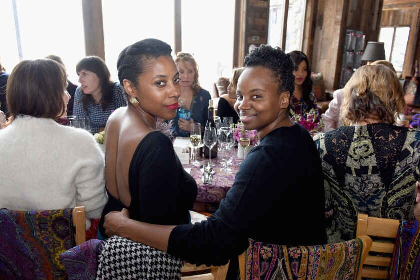 Director Dee Rees, right, and author Sarah M. Bloom.